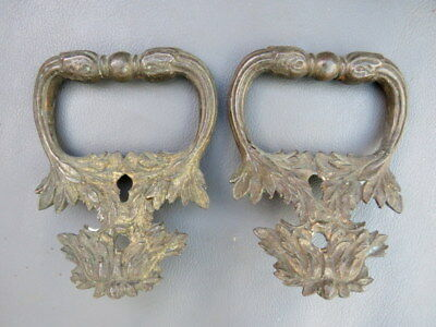 Antique or vintage pair of ornate brass box handles - 3 3/8