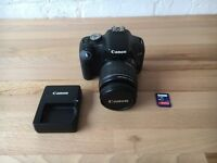Canon 500d (rebel t1i) with 18-55mm kit lens, charger and SD card
