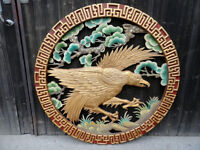 Chinese Wood Wall Eagle Carving Hanging Restaurant Decor Vintage
