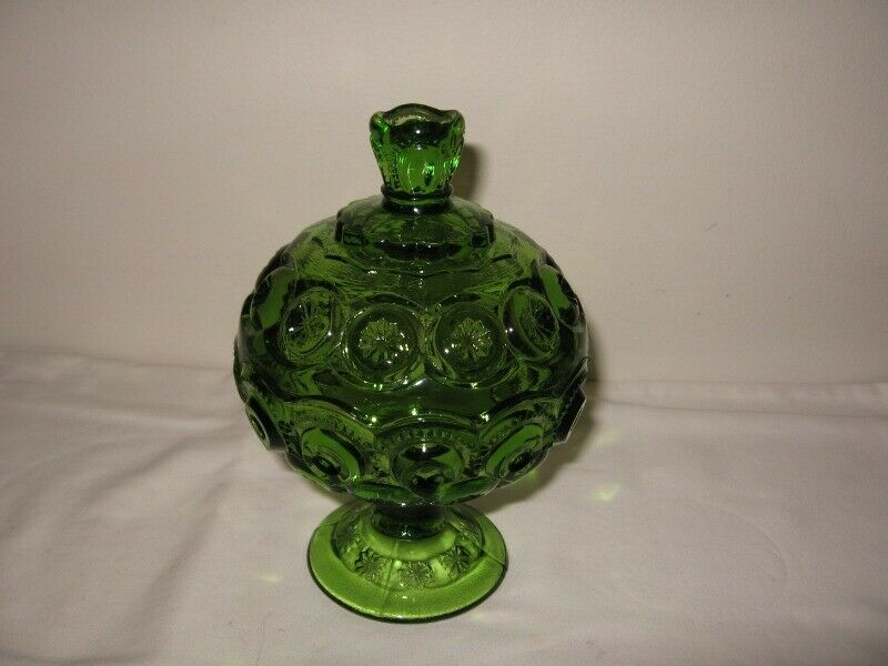 """LE Smith Green """"Moon & Stars"""" Small Lidded Compote 7"""" Height  GC"""
