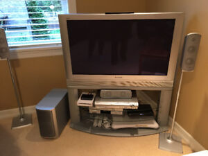 Panasonic TV, Stand and Surround Sound System