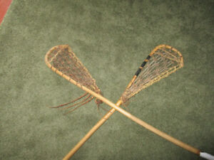 Two Lacrosse Sticks--Vintage Wood & Rawhide / Sinew