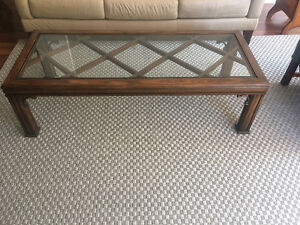 Long Coffee Table with Glass Insert