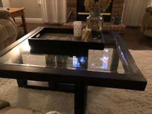 Coffee table glass top with wood frame