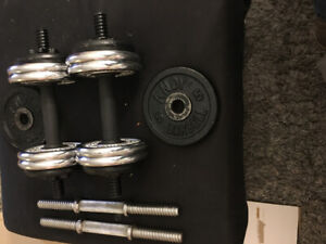 Dumbbell weights 44 lb in total four barbbell metal durable