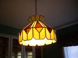 MULTIPLE TIFFANY, GLASS ,CHANDELIER HANGING LAMPS, TUBE LIGHTS
