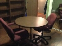 """34"""" Round Oak table with metal stand"""