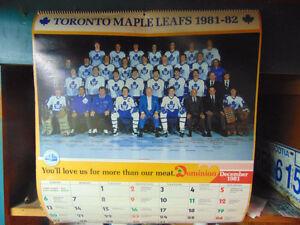 TORONTO MAPLE LEAFS 1981-82 VINTAGE CALENDAR NHL HOCKEY