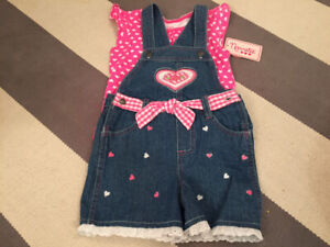 BRAND NEW with Tags On 6T Denim Overall Short Set & TShirt