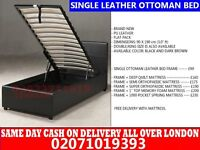 SINGLE STORAGE LEATHER BED, WITH MATTRESS