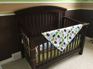 Baby crib ( dark wood)