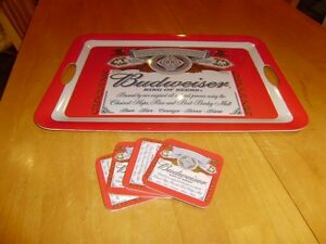 BUDWEISER SERVING TRAY AND COASTERS