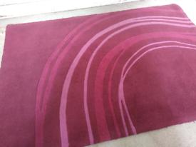"Aubergine/Red/Pink/Maroon Circle Stripe Rug 70 X 47"" / 180 X 120 Cm"