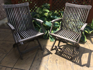 Set of wooden deck/ patio folding arm chairs