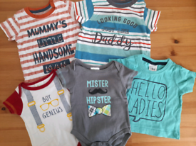 Bundle of baby boy slogan t-shirts/vests (mix of 0-9m)