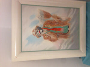 Painting of Clown with Broom by Mary Ramsey wood framed