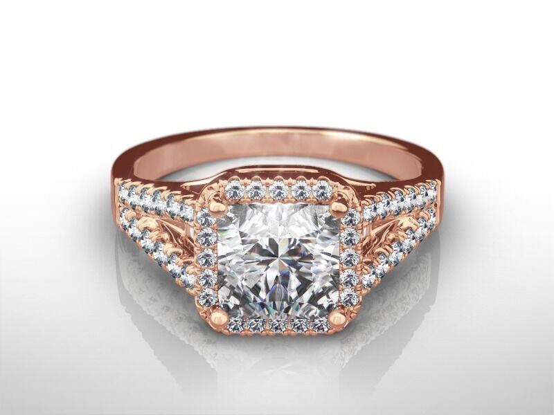 2 1/4 Ct Radiant H/si2 Diamond Solitaire Engagement Ring  Rose Gold Enhanced