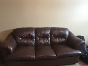 Leather couch and chair