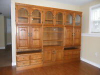 Set of 3 Separate Matching Oak Display & Entertainment Cabinets
