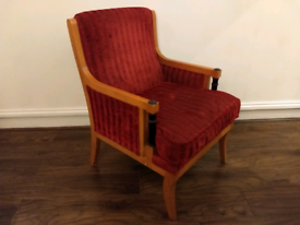 Wooden Framed Red Fabric Armchair