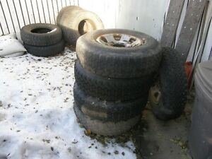 Ten tires five rims to fit a Chev or GMC 3500 truck