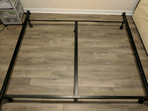 King boxspring + Black Metal Frame/ Mint Condition!
