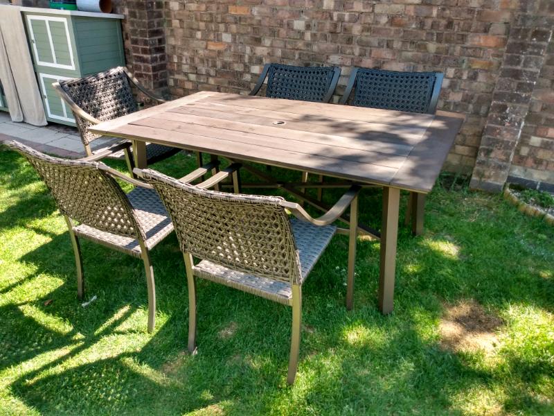 Large garden patio table & chairs elisian homebase patio ...