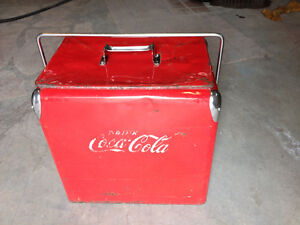 1946 GLACIERE COKE , COCA COLA EN METAL , ANTIQUE , TRES RARE !!