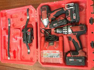 MILWAUKEE 18 volt cordless drill and impact drill 4 batteries