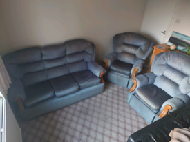 Sofa Suite Set, 3 Seater and 2 Single Recliners
