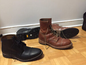 New Men's Leather Boots: Timberland and Hush Puppies (sizes 8-9)