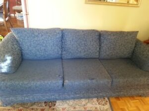 Royal  Blue, patterned 3 seat sofa and love seat.
