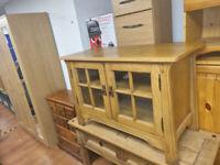 61. Solid oak TV unit