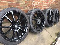 "New 18"" Gloss black alloy wheels +new 225/40/18 tyres 5x112 VW Golf Passat Audi A3 Mercedes"