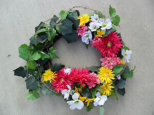 Large Grapevine Wreath with Artificial Flowers
