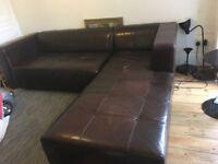 Brown leather sofa corner