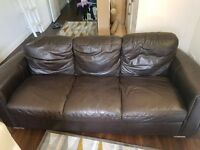 Brown leather 2 seater and 3 seater sofas