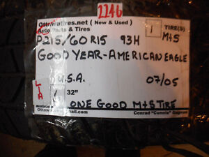 1- P215/60R15 93H  GOODYEAR AMERICAN EAGLE ASK FOR  2246