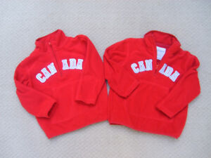 """2 Old Navy Fleece Zip Up """"CANADA"""" sweaters Size 3T and 4T"""