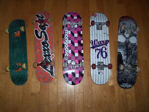 5 Planches a roulettes, skate boards de qualitée