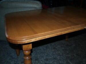 solid wood (birch) dining room table with two leafs