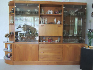 Teak and glass living room cabinet