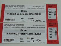 2 billets pour le spectacle de BROUE. A qui la chance ?