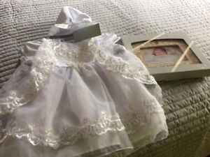 Christening dress and picture Frame
