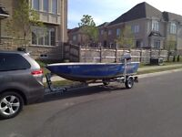 15' Aluminum boat and trailer for sale