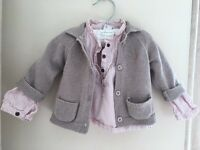 Baby girl (3-6m) blouse and cardigan