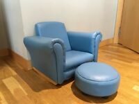 Children's blue faux leather chair and footstool