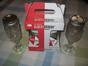 2 Redneck wine glasses, and New set of Redneck sippers