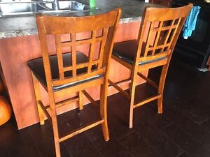 Leather seat bar chairs