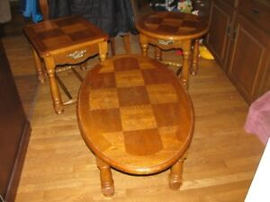 COFFEE TABLE AND END TABLES  -  OAK